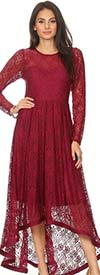 KarenT-8012-Burgundy - Long Sleeve Womens High-Low Style Lace Overlay Dress With Back Zip
