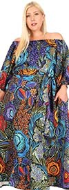 KarenT-8036-Blue Multi - Womens Off-Shoulder Dress With Gathered Sleeve Cuffs And Sash
