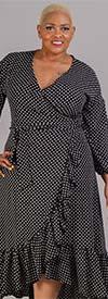 KarenT-9003NP-Black/White - Ruffle Hem Wrap Style Dress In Polka Dot Print
