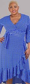 KarenT-9003NP-Royal/White - Ruffle Hem Wrap Style Dress In Polka Dot Print