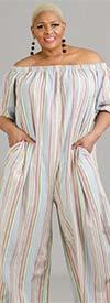KarenT-9005-Pink Stripe - Womens Wide Leg Jumpsuit In Vertical Stripe Design With Pockets And Optional Shoulder Straps