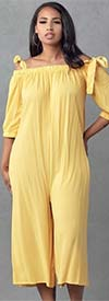 KarenT-9005S-Yellow - Womens Culotte Style Jumpsuit With Pockets And Shoulder Straps