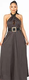 KarenT-9012-Gray - Halter Style Womens Maxi Dress