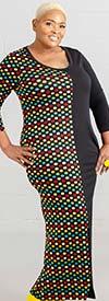 KarenT-9043-Black-Multi - Print And Solid Color Maxi Dress