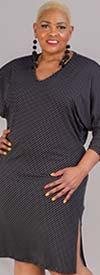 KarenT-9049-Black/Dot - Long Sleeve Side Slit Dress In Polka Dot Print With Sash