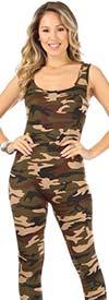 KarenT-9075-Camo - Womens Sleeveless Bodysuit In Camouflage Print