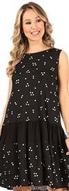 KarenT-9081-Black/White Polka Dot - Womens Print Sleeveless Dress