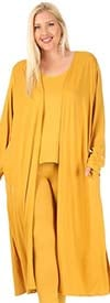 KarenT-9084-Mustard - Womens Sleeveless Top And Pant Set With Long Duster Style Jacket