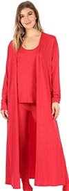 KarenT-9084-Red - Womens Sleeveless Top And Pant Set With Long Duster Style Jacket