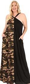 KarenT-9085-Black/Camo - Halter Style Dress In Contrast Print Design