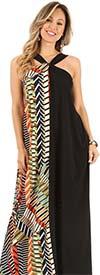 KarenT-9085-Black/Multi - Halter Style Dress In Contrast Print Design