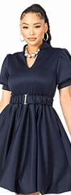 KarenT-9087 - Womens Belted Dress With Short Puff Sleeves And Vee Neckline