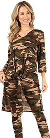 KarenT-9093-Camo - Womens Tied Front Design High-Low Top And Pant Set In Camouflage Print