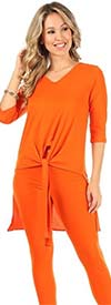 KarenT-9093-Orange - Womens Tied Front Design High-Low Top And Pant Set