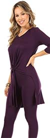 KarenT-9093-Purple - Womens Tied Front Design High-Low Top And Pant Set