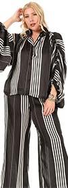KarenT-KAR-9094-Black/White- Womens Balloon Sleeve Style Button Neckline Design Top And Pant Set