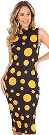 KarenT-9098-NavyGold - Womens Polka Dot Sleeveless Midi Dress