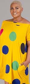 KarenT-9099-Yellow - Polka-Dot Print Short Sleeve Womens A-Line Dress With Off Shoulder Neckline Design