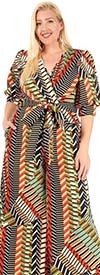 KarenT-9101-Multi - Surplice Neckline Short Puff Sleeve Ladies Print Jumpsuit With Sash
