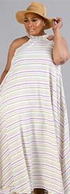 KarenT-9101D - Womens Striped Print Halter Style Dress