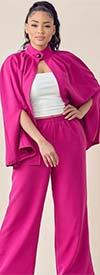 KarenT-9102-Fuchsia - Womens Cape Style Jacket And Pant Set