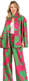 KarenT-9102-Pink-Green - Womens Cape Style Jacket And Pant Set In Print Design
