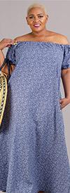 KarenT-9103-Blue Flower - Short Sleeve Womens Maxi Dress With Off Shoulder Neckline Design