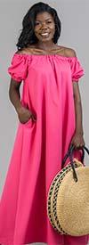 KarenT-9103-Fuchsia - Short Sleeve Womens Maxi Dress With Off Shoulder Neckline Design
