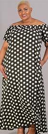 KarenT-9103-OliveWhite Polka-Dot - Short Sleeve Womens Maxi Dress With Off Shoulder Neckline Design