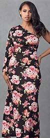 KarenT-KAR-9107-Black-Floral - Womens Chevron Print One-Shoulder Dress