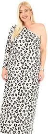 KarenT-KAR-9107-Cheetah - Womens Animal Print One-Shoulder Dress