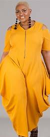 KarenT-9109-Mustard - Womens Cold Shoulder Jumpsuit With Pockets And Zipper Placket