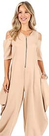 KarenT-9109-Taupe- Womens Cold Shoulder Jumpsuit With Pockets And Zipper Placket
