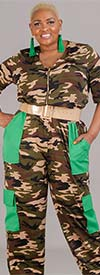 KarenT-9112 Womens Half-Sleeve Camouflage Jumpsuit With Contrast Pockets And Zipper Placket