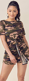 KarenT-9118-Camo - Womens Two Piece Top And Shorts Set