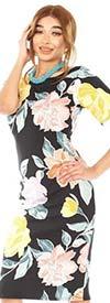 KarenT-9119-Black / Floral- Womens Midi Dress With Short Sleeves In Print Design
