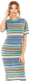 KarenT-9119-Multi - Womens Midi Dress With Short Sleeves In Print Design