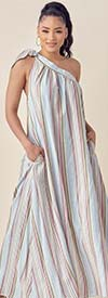 KarenT-9120 - Womens Striped One Shoulder Style Maxi Dress