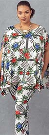 KarenT 9121-Multi/Flower -Two Piece Womens Knit Legging & Top Set
