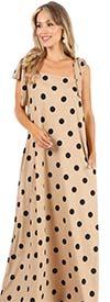 KarenT-9122-Taupe-Black - Womens Polka-Dot Print Maxi Dress With Bow Strap Design