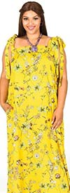 KarenT-9122-Yellow / Flower - Womens Floral Print Maxi Dress With Bow Strap Design