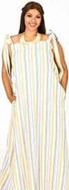 KarenT-9122-Yellow / Stripe - Womens Floral Print Maxi Dress With Bow Strap Design