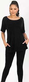 KarenT-9123-Black - Short Sleeve Womens Top And Legging Set