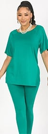 KarenT-9123-Teal - Womens Short Sleeve Top And Legging Set