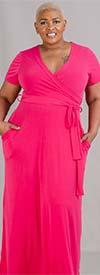 KarenT-SAN149 - Womens Striped Print Mock Wrap Maxi Dress With Pockets