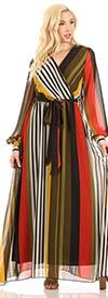 KarenT-5121 - Multi Stripe Green Chiffon Print Long Sleeve Maxi Dress With Sash