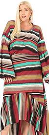 KarenT-9040D-Multi-Stripe- Ladies Printed High-Low Maxi (Long) Dress