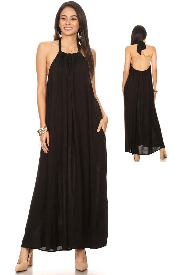 KarenT-1832-Black - Halter Style Ladies Dress With Pockets