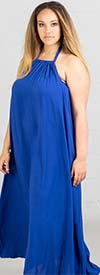 KarenT-1832-Royal - Ladies Halter Style Dress With Pockets