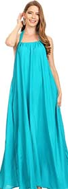 KarenT-1832-Turquoise - Halter Style Ladies Dress With Pockets